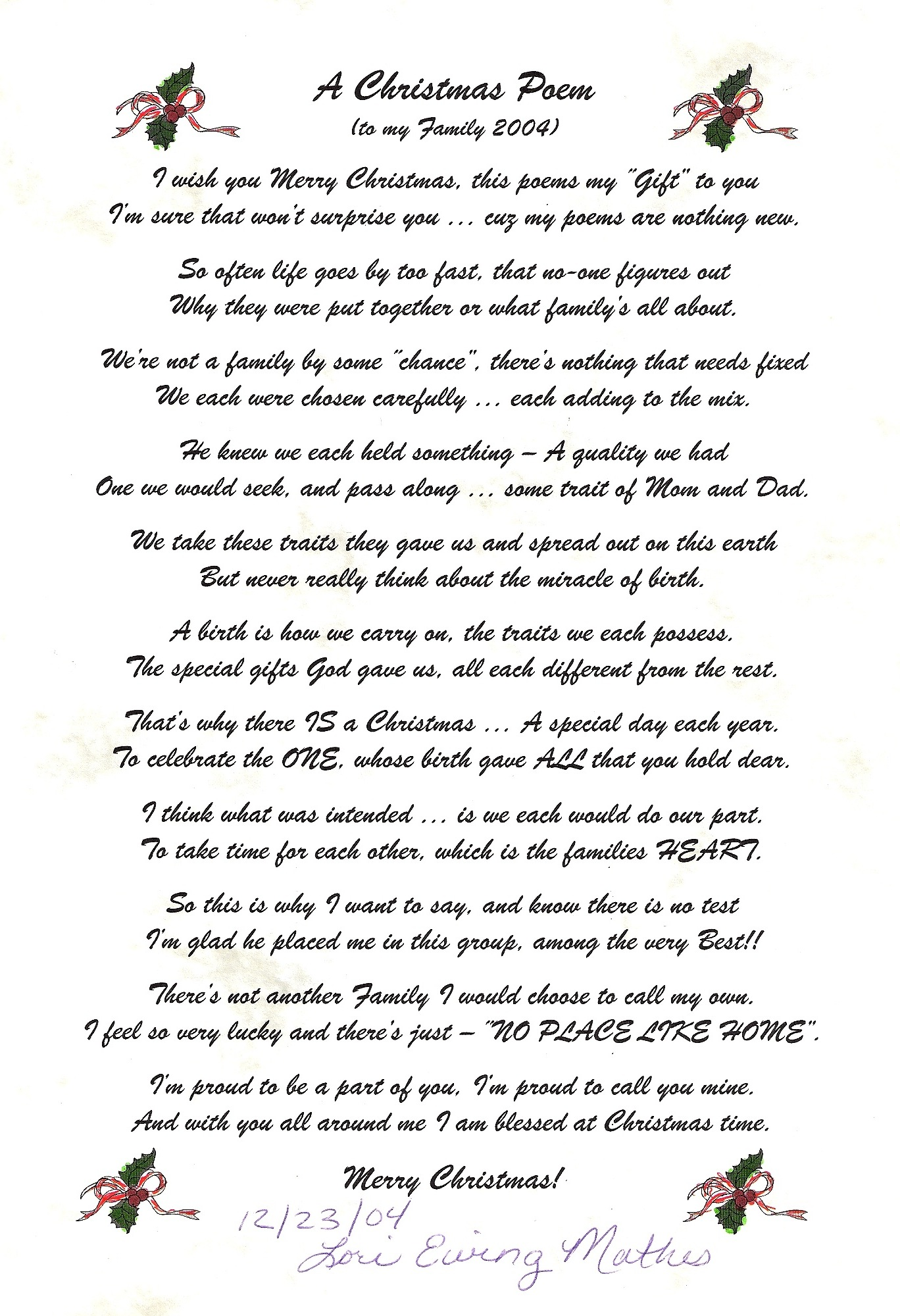 The Christmas Poem by Lori Mathes