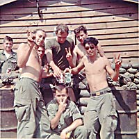 Dennis Wolf with soldiers at Pleiku